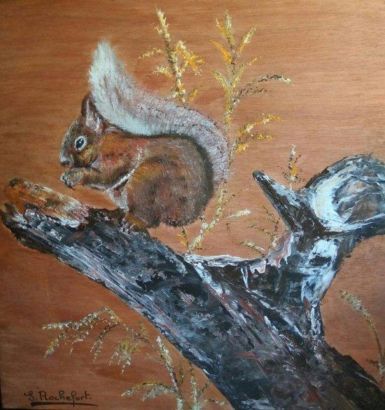 écureuil (sur contre-plaqué)