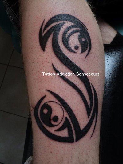 S tribal + yin-yang