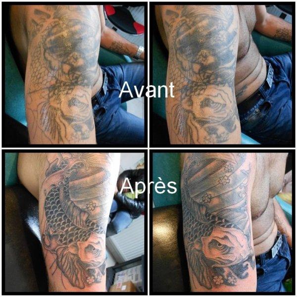 Reprise d'un tattoo réalisé chez un autre tatoueur... travail en cours