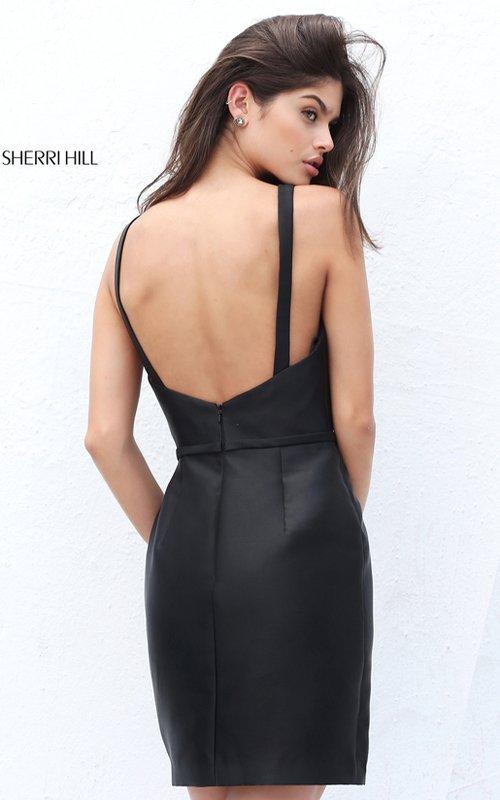 Sherri Hill S50755 Short Open Back Simple Fitted Little Black Dress