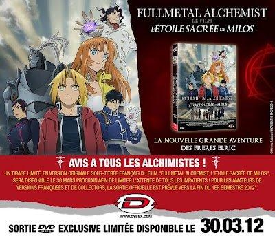 FullMetal Alchemist - L'Étoile Sacrée de Milos en Blu-ray et DVD!