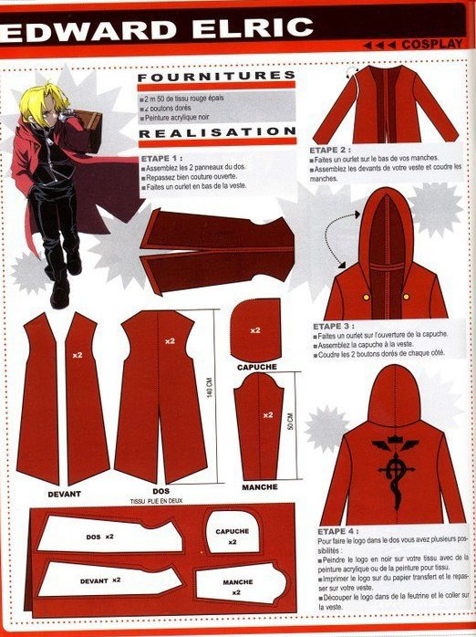 Cosplay manteau rouge d'Edward