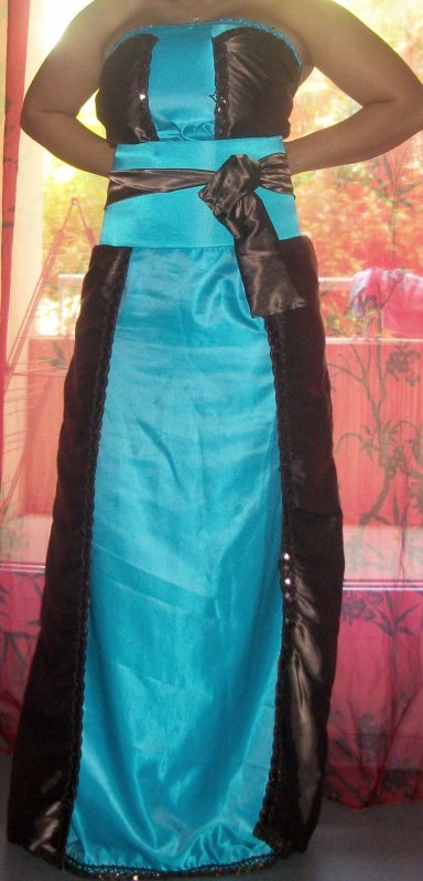 c07bd3b1318 robe bleu turquoise et marron - location takchita