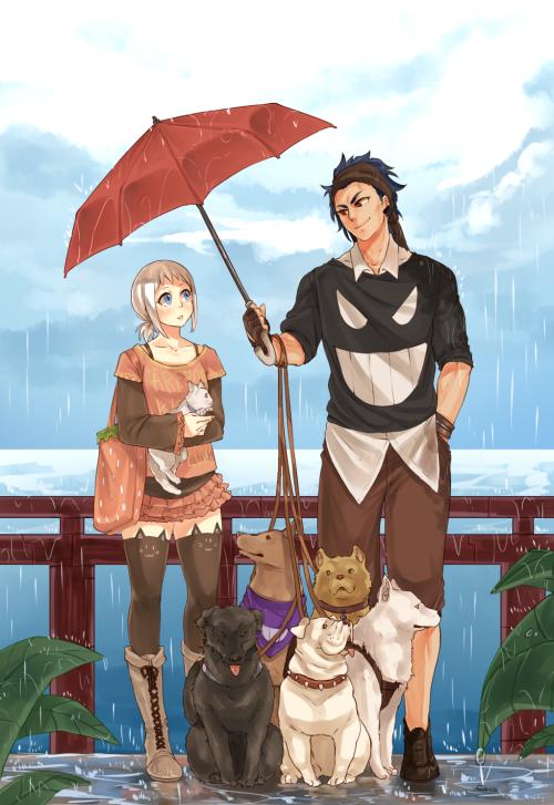 Sous le parapluie rouge