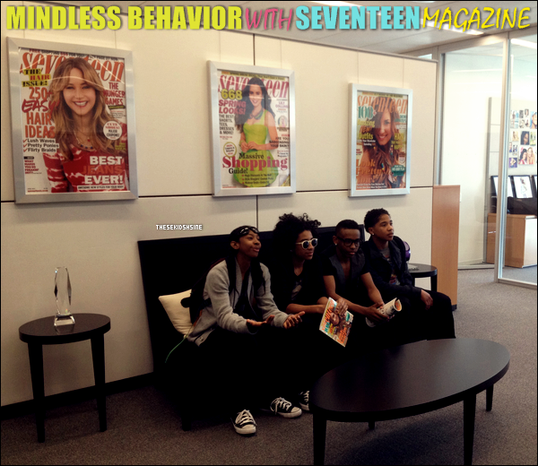 Mindless Behavior dans les bureaux du magasine Seventeen, aujourd'hui ( 04.04.2012 ) à New York.