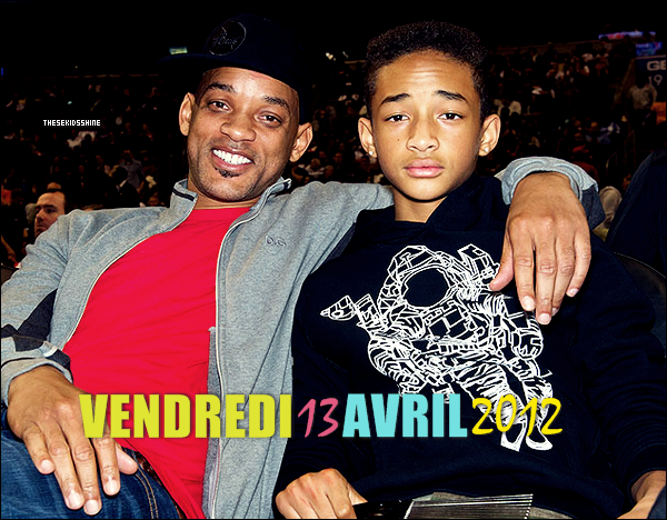 Jaden & Will Smith ont assisté à un match de basket ce vendredi 13 avril 2012 à Philadelphie.