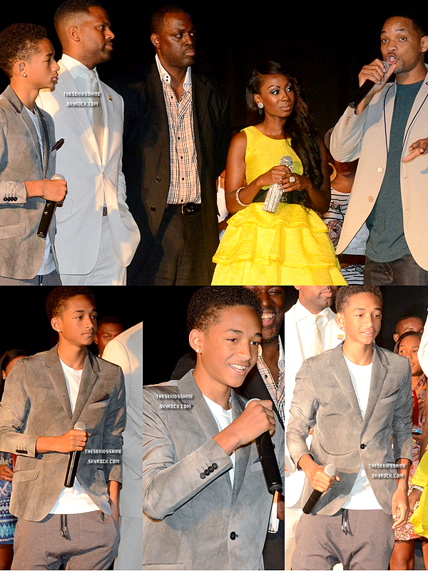 "20.07.2012 Jaden & Will Smith ont assisté au Party 4 Peace Celebrity Weekend qui se déroulait en Pennsylvanie. Ils étaient sur scène pour le ""I WILL Be Great Leaders"" Awards & Luncheon Ceremony organisé par Charlie M., Kendra G. et AJ Calloway."