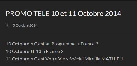 MM - PROMO RADIO du 6 au 11 Octobre - PROMO TELE 10 et 11 Octobre 2014