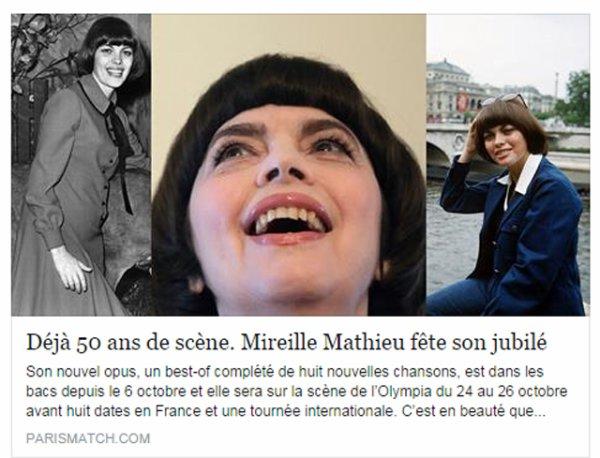 DÉJÀ 50 ANS DE SCÈNEMIREILLE MATHIEU FÊTE SON JUBILÉ