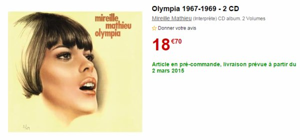 Inédit 2 CD Live Olympia 1967 & 1969 le 2 Mars 2015