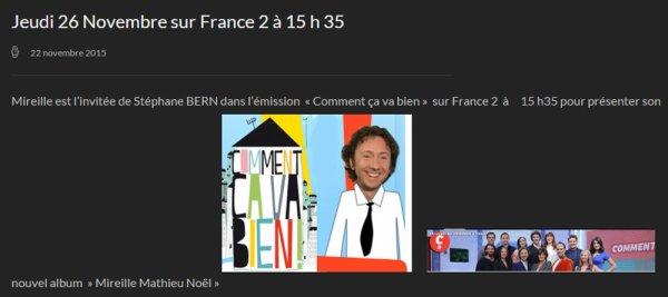 Jeudi 26 Novembre sur France 2 à 15 h 35
