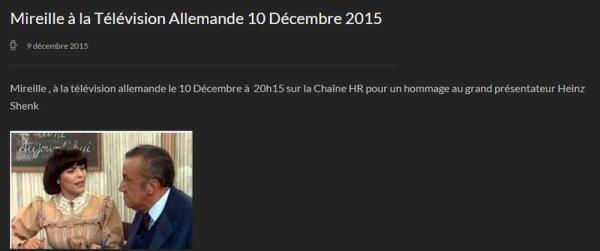 Mireille à la Télévision Allemande 10 Décembre 2015