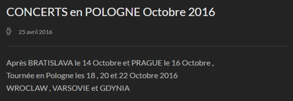 MM concerts en Pologne - MM Site Officiel Info