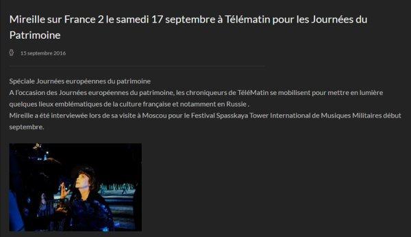 Mireille Mathieu - France 2 - 17/9/2016