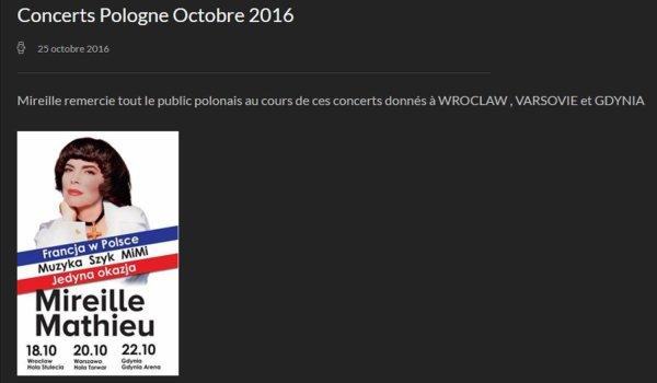 Site officiel - Mireille remercie au public - Octobre 2016