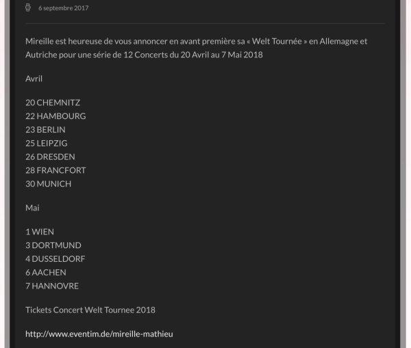 Mireille Mathieu - Tournée 2018 - Info Site officiel - Dates