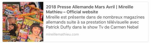 Mireille Mathieu - Presse Allemande 2018