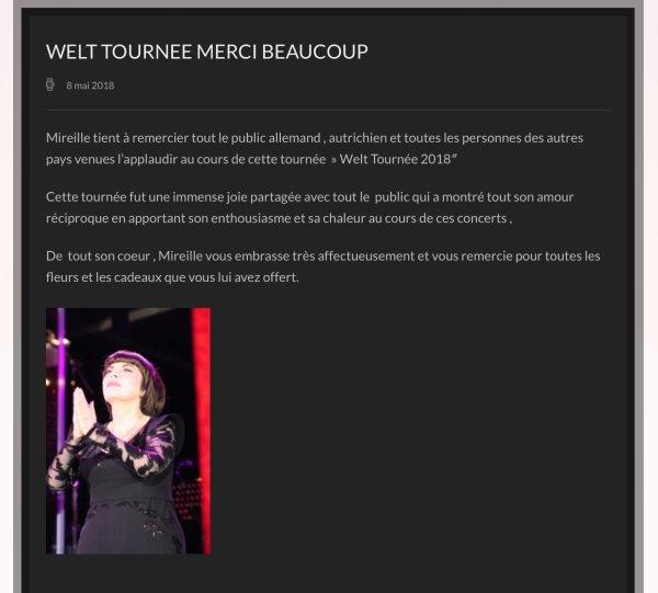Mireille remercie tout son public - Site Officiel - Tournée 2018