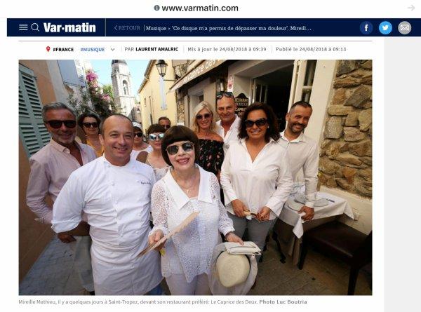 Mireille Mathieu - Presse Août 2018