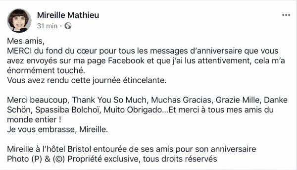 Mireille Mathieu - Page facebook