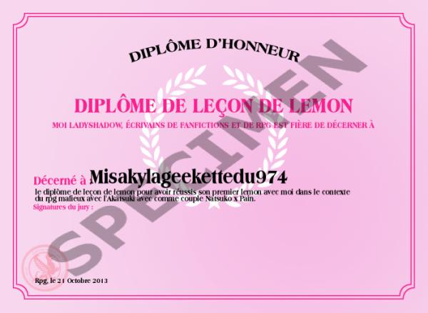 Diplôme De Leçon De Lemon
