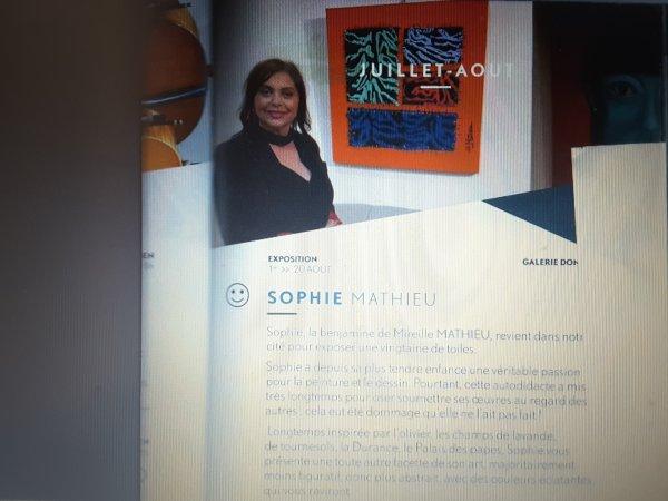 Evènement de cet été 2017 à ne pas manquer: Mademoiselle Sophie MATHIEU expose ses nouvelles toiles de peinture à SISTERON (04).