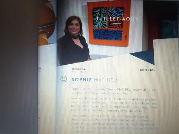 Le vernissage  de Mademoiselle Sophie MATHIEU  aura lieu le 05 août  2017 à SISTERON.