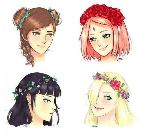 Fleurs sur tête.