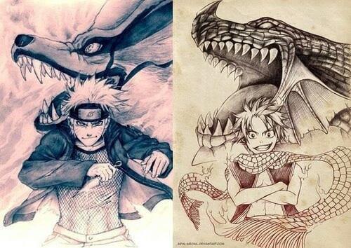 Naruto and Natsu..