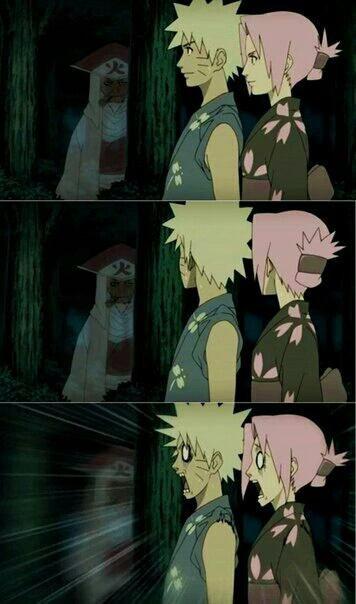 La peur bleu de Sakura et Naruto.