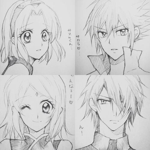 Petits dessins de Sakura et Sasuke.✰