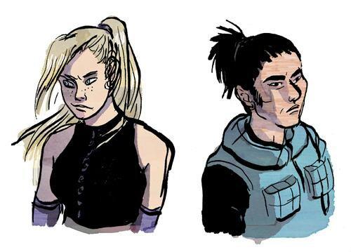 Les têtes des personnages de Naruto,.