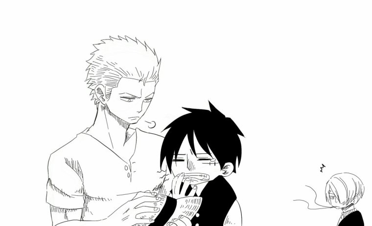 Kiss entre Zoro and Luffy.