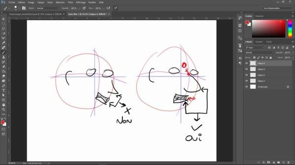 Faire un dessin en 3/4 correct avec le nez et la bouche