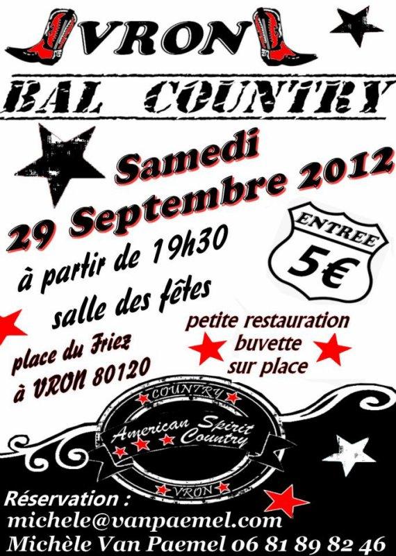 Et voiçi notre 2 iemes BAL Country qui arrive et ces le 29 SEPTEMBRE 2012