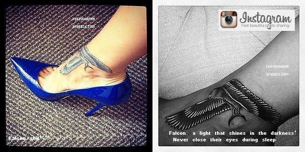 . UN NOUVEAU TATOUAGE POUR RIHANNA! Comment tu le trouve ? Alors que sondernier tatouage ne datait que de quelques mois, Rihanna a profité de son séjour à New York pour se rendre chez son artiste tatoueur préféré, Bang Bang, et ainsise faire tatouer un faucon égyptien sur le pied droit. Rihanna-Diva .