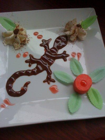la deco ke je fait pour les desserts dans mon resto  et les desserts