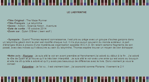 •○•FILM•○•LE LABYRINTHE•○•DYLON O BRIEN•○• DECORATION•○•CREATION•○•NEWSLETTER•○•BOUTIQUE •○•