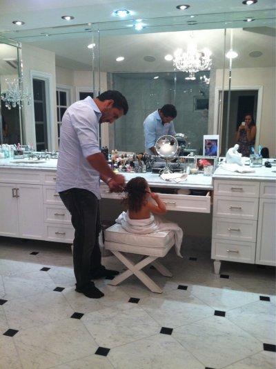 daddy brushing portia's hair!