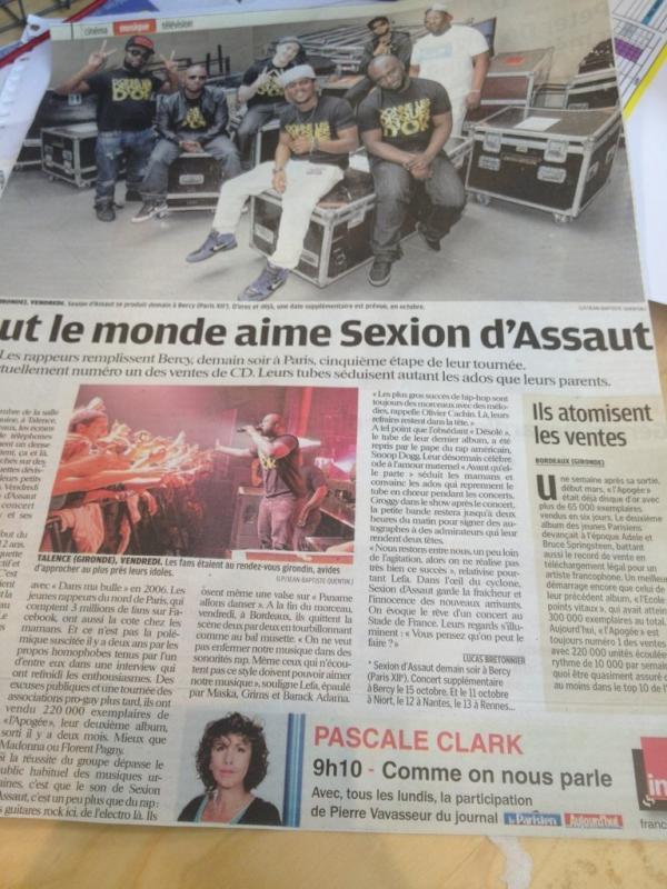 """Une nouvelle interview de la Sexion dans Le journal """" Le Parisien """" ce matin ..."""