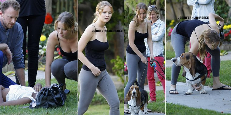 .25 JUIN. Promenade du chien à Santa Monica avec maman, puis diner (en changeant de tenue évidement) ... 2012... • Lors de la promenade, Jen a porté secours à une jeune fille, tombée dans les pommes.