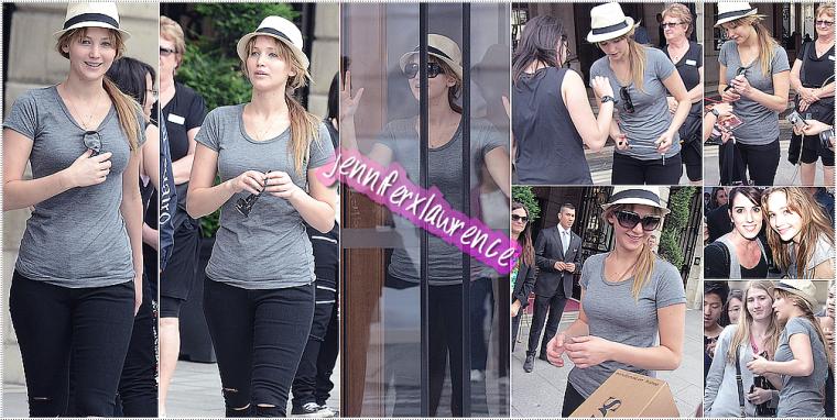 -03 JUIL- Jennifer sort de son hotel pour aller faire un tour dans Paris, la plus belle ville du monde. ... 2012... • De nouveau avec un chapeau sur la tête, elle fait le plaisir des passants et de ses fans.