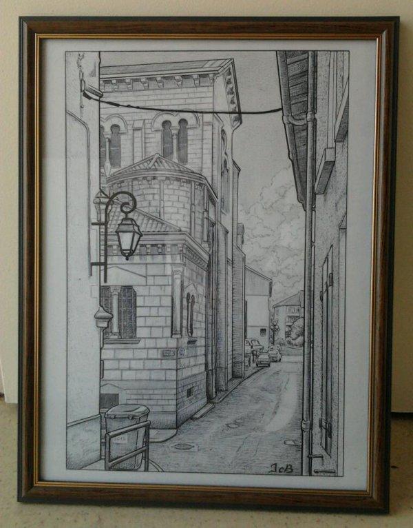 Eglise St Pierre-69 Dessin,stylo bic noir et crayon pour le ciel