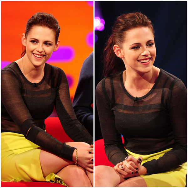 10/05/12 -> The Graham Norton Show.J'adore sa tenue, c'est un TOP.Kristen était là pour ses deux films: On The Road et Swow White And The Hunstman.
