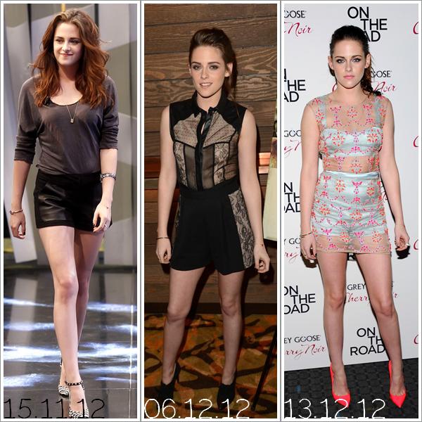 L'année 12' de Kristen Stewart.J'ai sélectionné quelques tenues que Kristen a porter durant l'année 2012 et je voulais avoir votre avis.. Dites moi quelle(s) tenue(s) vous préférés!