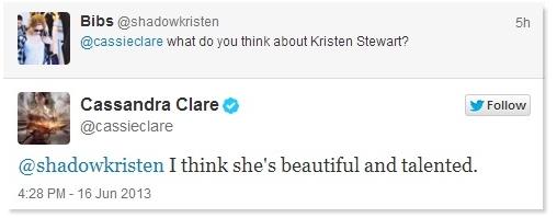 TWEET | Cassandra Clare tweet Kristen.