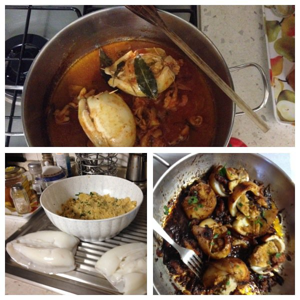 Calamari all'Adriano_Ostriche gratinate alla Bretone_Rompope_rava fried fish _Zarzuela_Braised beef in barolo _Curanto _Ribollita alla Toscana _Riso pilaf con zucca e salsiccia _ Seppie e carciofi _Mozzarella in carrozza _Anitra alle mele _Apple cocktail_ Lamington cake +  PIZZA  alla  MARINARA + SUSHI  ( Giappone )
