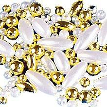 Set de perles blanches et couleur or