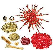 """étoile en perles 3D"""", rouge/doré"""