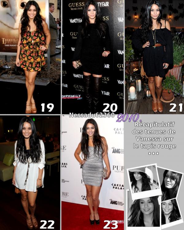 Les tenues de Vanessa aux événements durant l'année 2010  . article : Flash back .